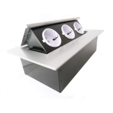 bloc 3 prises rabat aluminium plan de travail ae pbc3gu 53 gtv. Black Bedroom Furniture Sets. Home Design Ideas