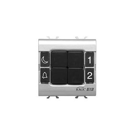 Clavier de commande 4 canaux titane Gewiss master system knx domotique