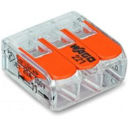 Borne de raccordement WAGO 221 Mini / 3 pôles transparents - orange / Boite de 50pcs