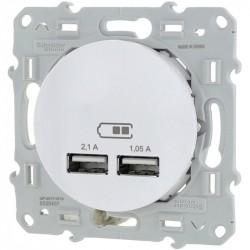 ODACE DOUBLE USB BLANC Schneider