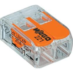 Borne de raccordement WAGO 221 Mini / 2 pôles transparents - orange / Boite de 100pcs