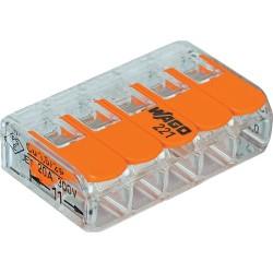 Borne de raccordement WAGO 221 Mini / 5 pôles transparents - orange / Boite de 25pcs