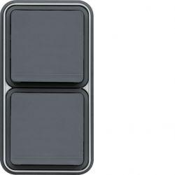 cubyko PC dble vert 2P+T encastré gris
