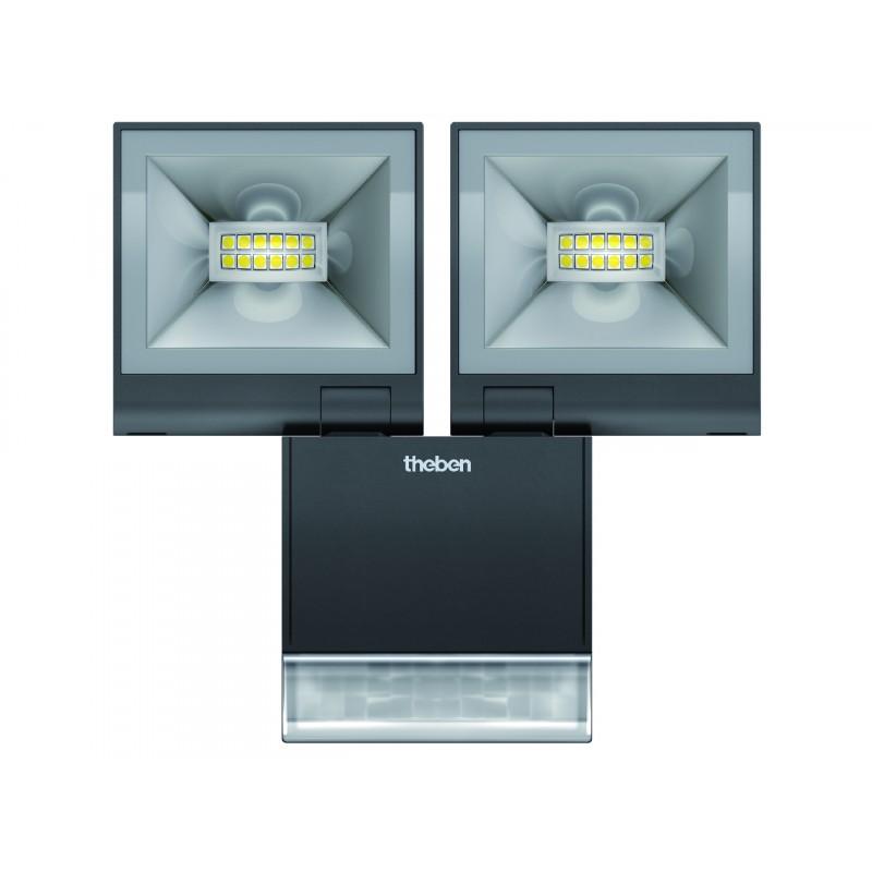 projecteur led double avec detecteur theleda 2x10w noir theben. Black Bedroom Furniture Sets. Home Design Ideas