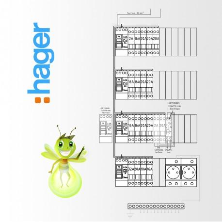 Tableau electrique Pré Cablé Hager surface supérieur a 100 m2 (T6 et plus)