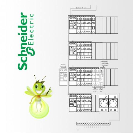 Tableau electrique Pré Cablé Schneider surface supérieur a 100 m2 (T6 et plus)