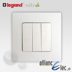 Interrupteur triple 3 touches Legrand Niloe Pur Blanc