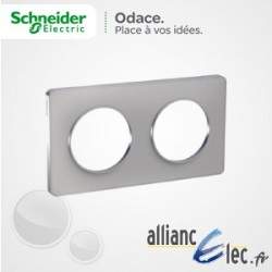 Plaque Alu 2 Postes entraxe 71 Schneider Odace Touch