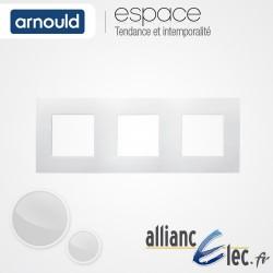 Plaque Blanc Lumière 3 postes Triple Horizntale ou Vertical entraxe 71mm Arnould Espace