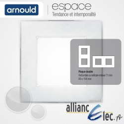 Plaque Ice Blanc 2 postes Double Horizntale ou Vertical entraxe 71mm Arnould Espace Translucide Coloré