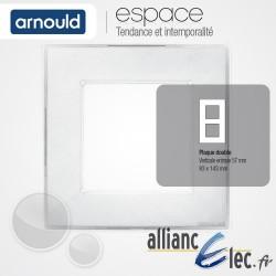 Plaque Ice Blanc 2 postes Double Vertical entraxe 57mm Arnould Espace Translucide Coloré