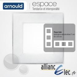 Plaque Ice Blanc 3 postes Triple Horizntale ou Vertical entraxe 71mm Arnould Espace Translucide Coloré