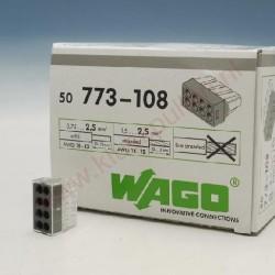 Borne de connexion Wago 8 entrees Noir automatique x100