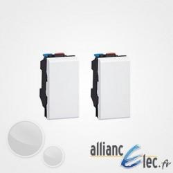 Double Va-et-vient + Poussoir Legrand Mosaic Blanc - 2x1 module - 10 AX