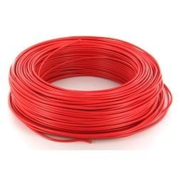 Fil HO7 V-U 6 mm² Rouge Rigide couronne de 100 M